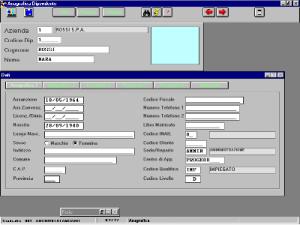 Anagrafica Dipendente: tramite una finestra composta di più schede è possibile inserire tutti i dati anagrafici del dipendente ed, eventualmente, anche un'immagine associata allo stesso